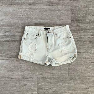 Forever 21 Distressed Jean Short with Buttons